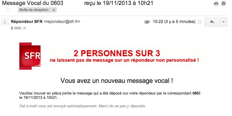 message vocaux par email